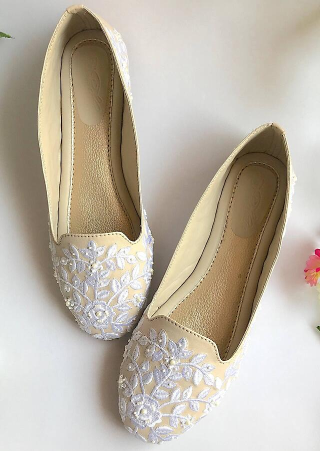 Cream Loafers With Baroque Inspired Embroidery Using Pearls And Beads By Sole House