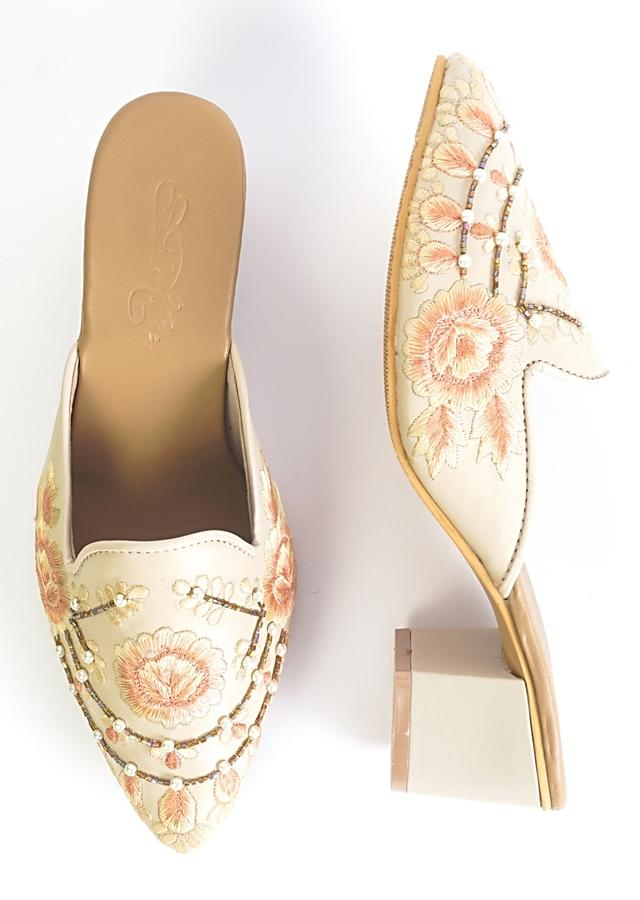 Cream Mules With Block Heels And Saffron Two Toned Floral Design By Sole House