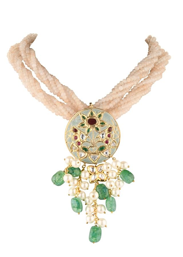 Cream Necklace And Earrings Set With Green Enamelled Pendant, Beads And Shell Pearls Online - Joules By Radhika