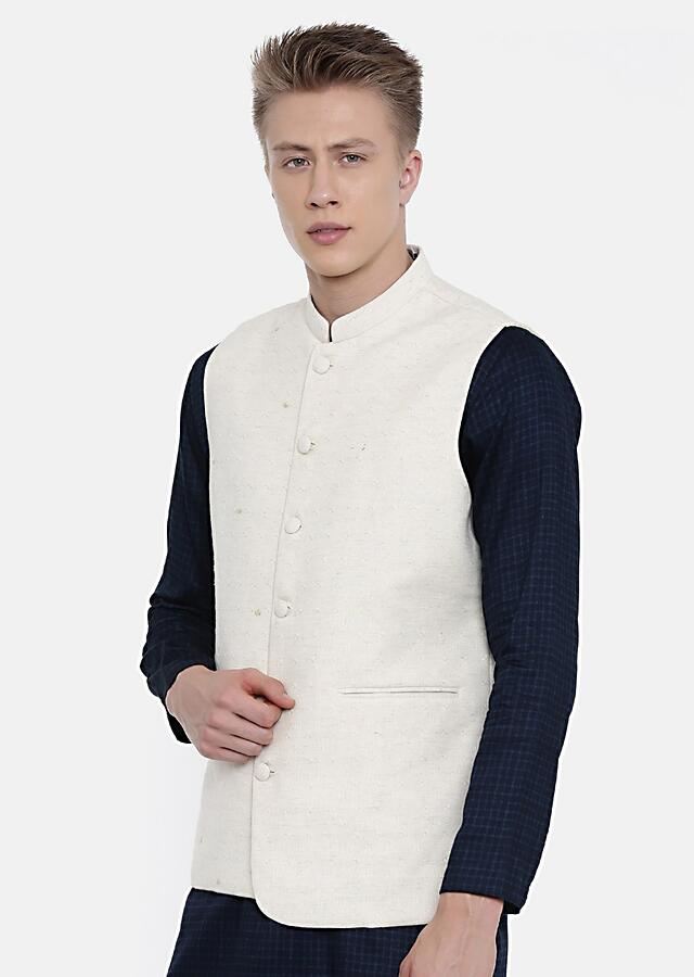 Cream Nehru Jacket In Cotton Jacquard With Subtle Hand Embroidered Buttis By Mayank Modi