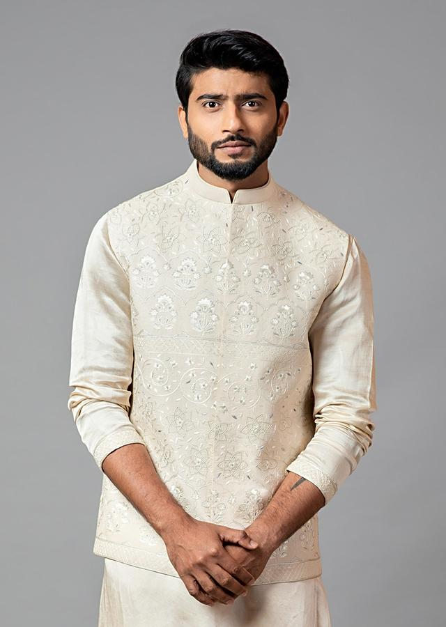Cream Nehru Jacket In Kora With Mughal Inspired Hand Embroidery By Smriti Apparels