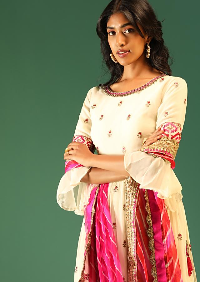 Cream Palazzo Suit In Georgette With Pink Resham Embroidered Buttis And A Shaded Lehariya Dupatta Online - Kalki Fashion