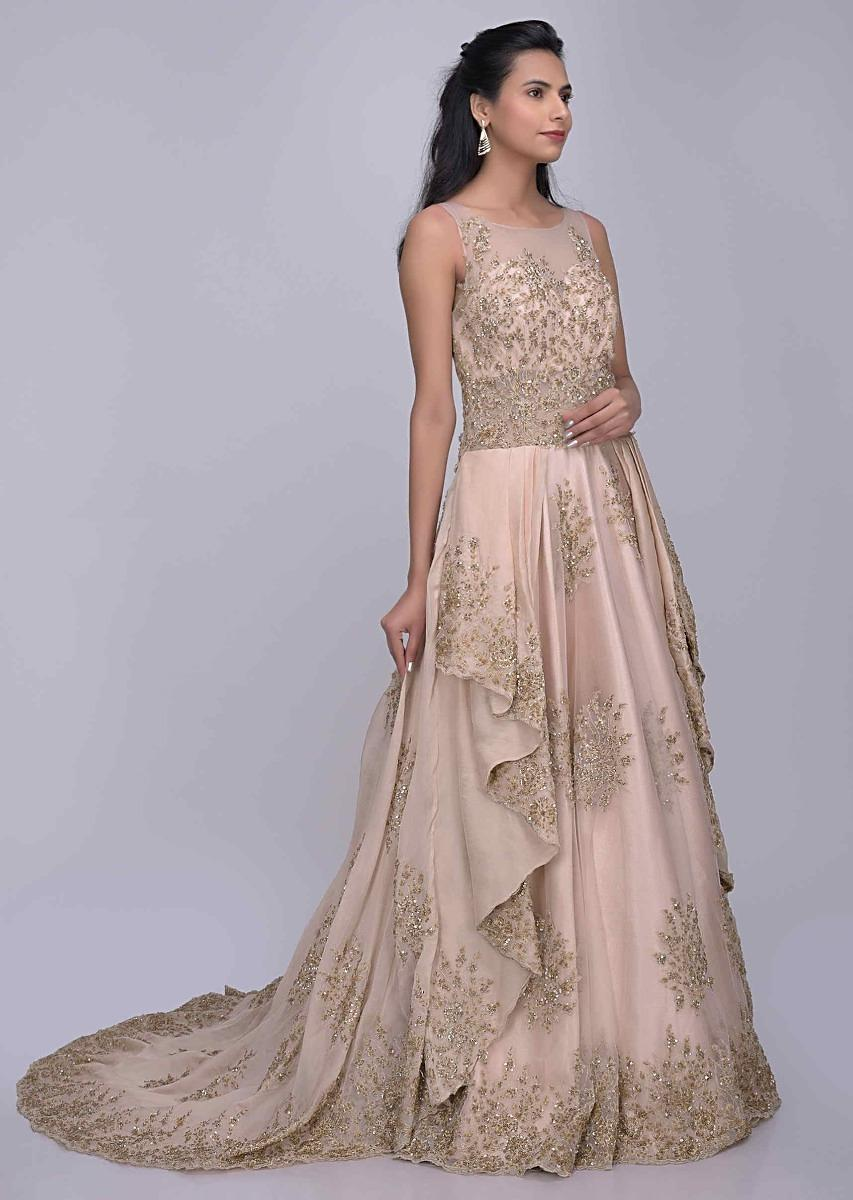 c23c91d830 Cream pink ethnic gown with enchanting cascade drape in organza fabric only  on Kalki
