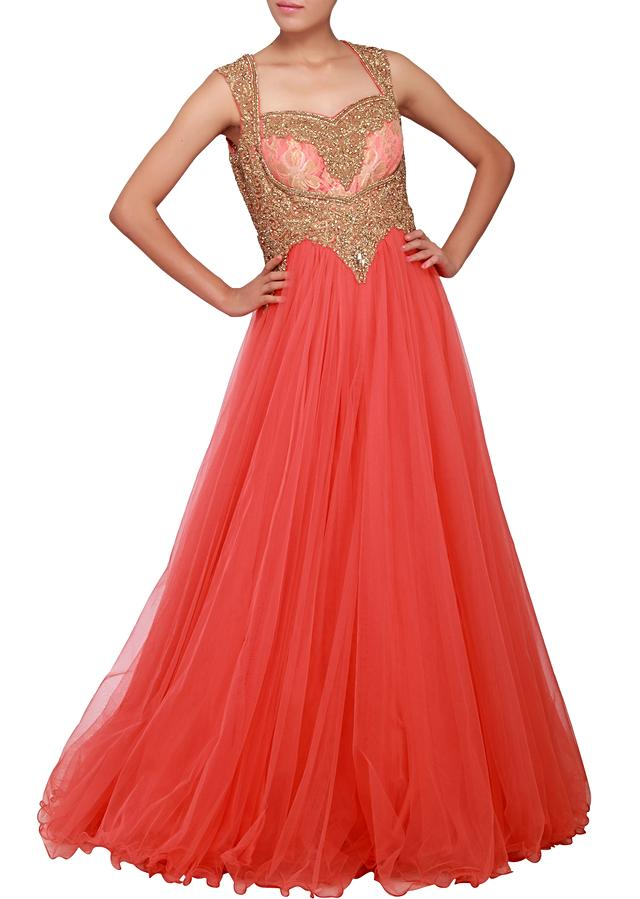 Cream pink gown embellished in cut work and stone embroidery only on Kalki