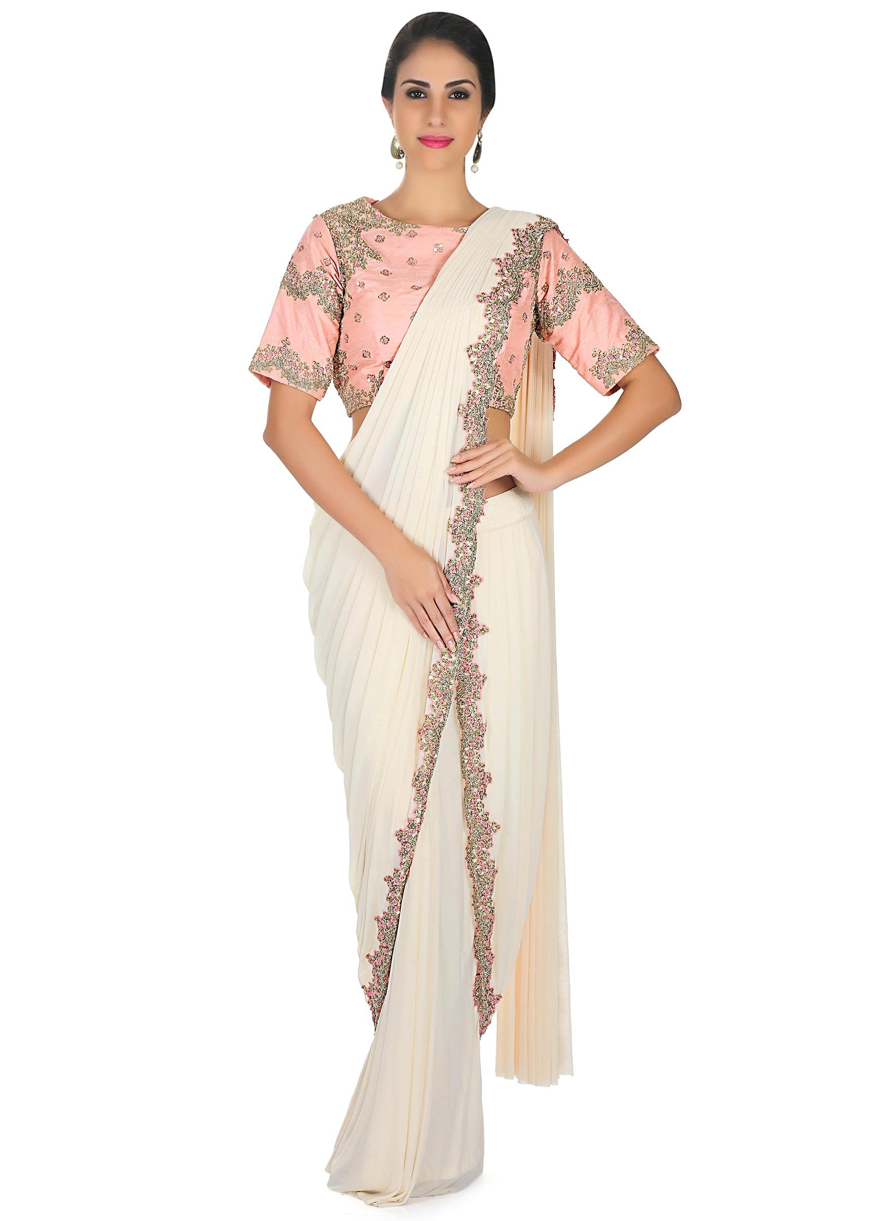 8542b724d49c7b Cream pre stitched saree with french knot embroidered border only on KalkiMore  Detail