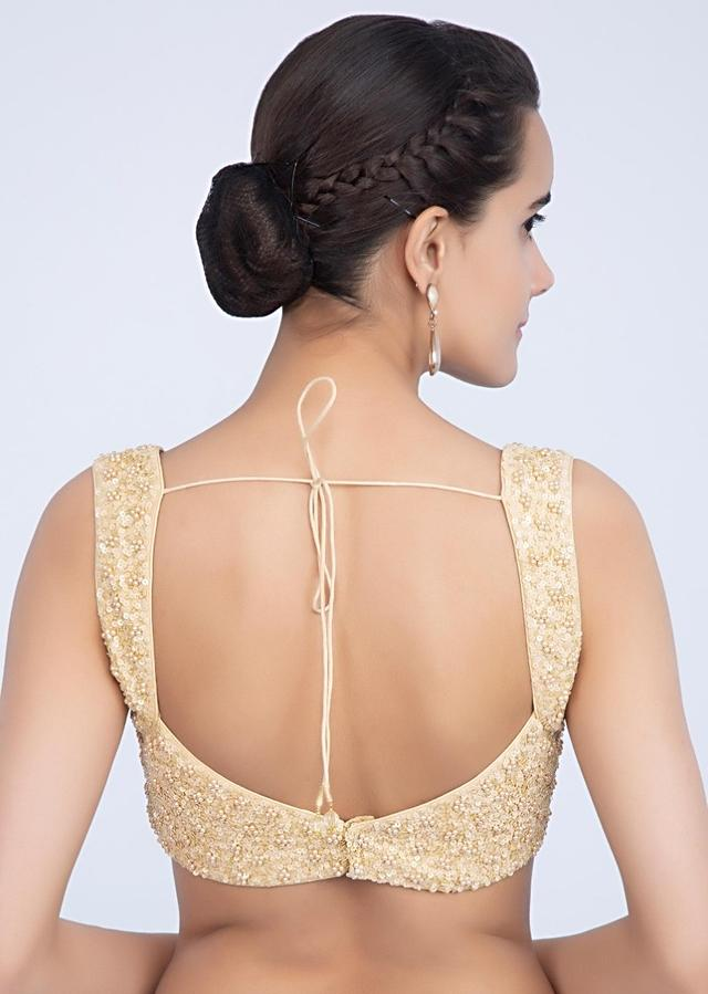 Cream Blouse In Raw Silk With Sequins And Moti Embrodiery Online - Kalki Fashion