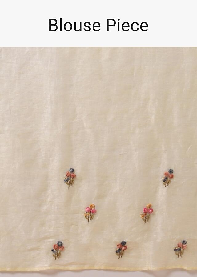 Cream Saree In Linen With Hand Embroidered Floral Motifs Using Colorful Thread And Sequins Online - Kalki Fashion