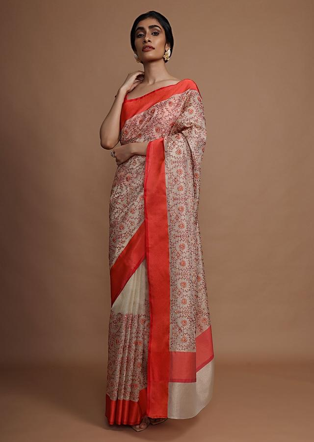 Cream Saree With Red Border And Resham Embroidered Floral Jaal Online - Kalki Fashion