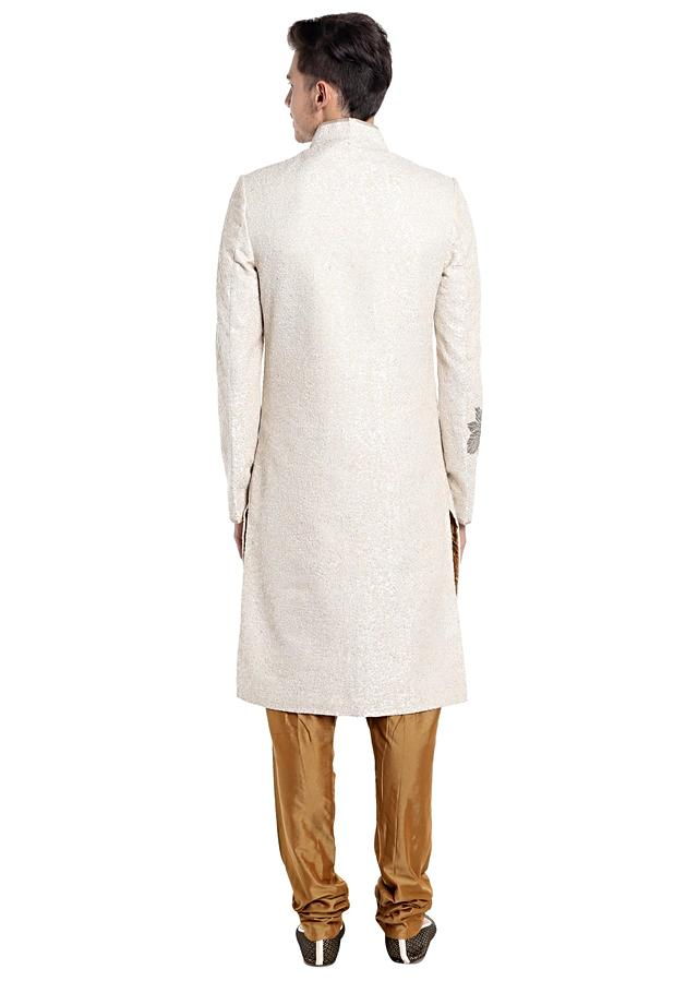Cream Silk Sherwani Enhanced with Thread Work and Sequins Only on Kalki
