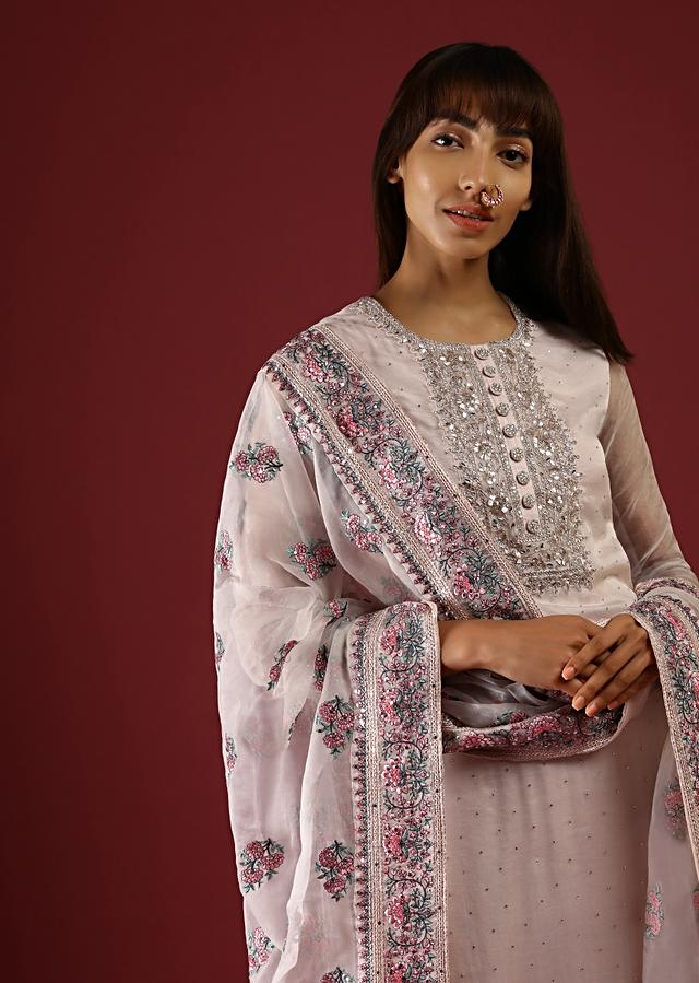 Cream Straight Cut Suit With Multi Colored Thread Embroidered Floral Motifs On The Border And Buttis On The Organza Dupatta Online - Kalki Fashion