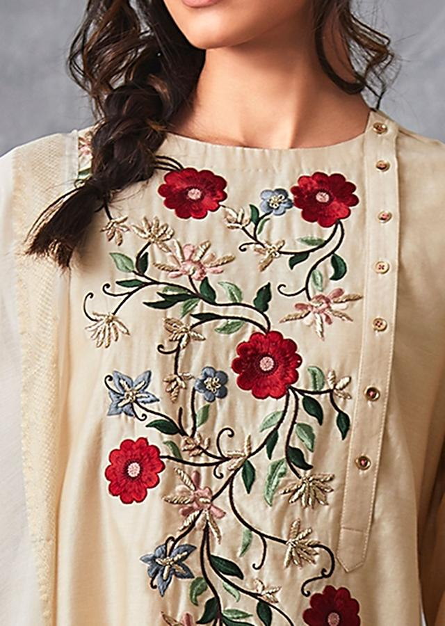 Cream Straight Suit In Cotton Silk With Center Panel In Floral Resham Embroidery Online - Kalki Fashion