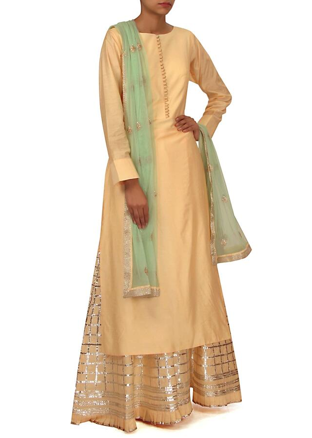 Cream straight suit with gotta lace palazzo pant only on Kalki
