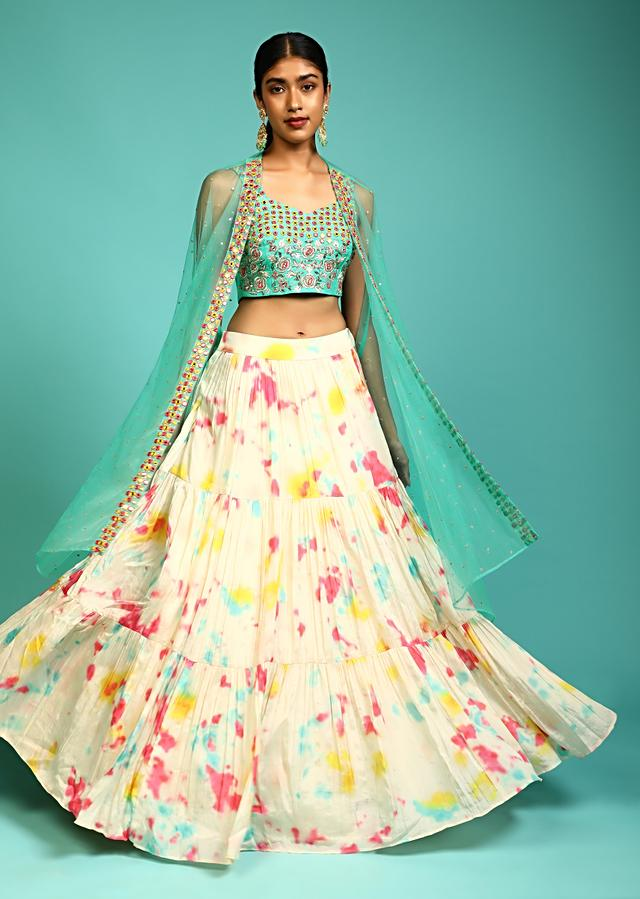 Cream Tie Dye Printed Skirt And Pool Blue Crop Top Set With Mirror Abla Embroidery And Net Cape Jacket Online - Kalki Fashion