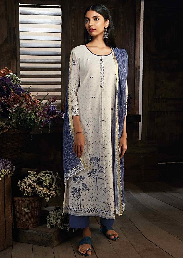 Cream Unstitched Suit In Cotton Silk With Geometric Motif And Floral Print Online - Kalki Fashion