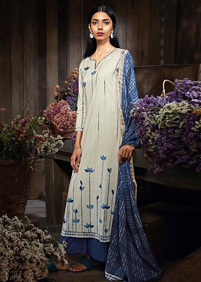 Cream unstitched suit in cotton with leaf print and kundan work