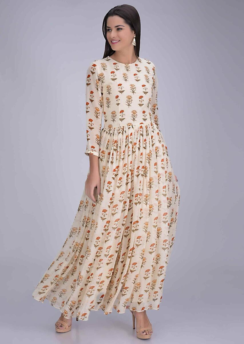 most popular big discount 100% authenticated Buy Cream White Jumpsuit In Printed Chiffon Online - Kalki ...
