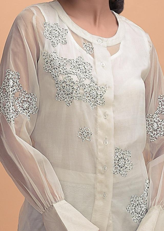 Cream White Palazzo And Organza Silk Sheer Top With Beads Online - Kalki Fashion
