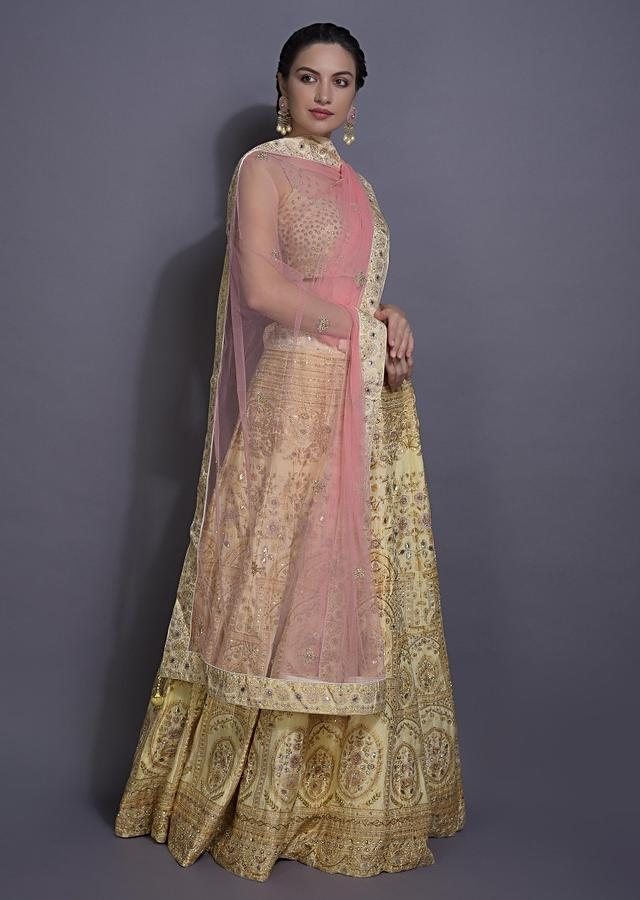 Cream Yellow Lehenga Choli With Foil Print And Embroidery In Heritage Pattern Online - Kalki Fashion