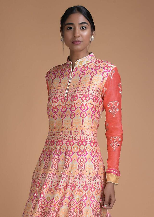 Cream Anarkali Suit In Cotton Silk With Multi Colored Patola Print All Over Online - Kalki Fashion
