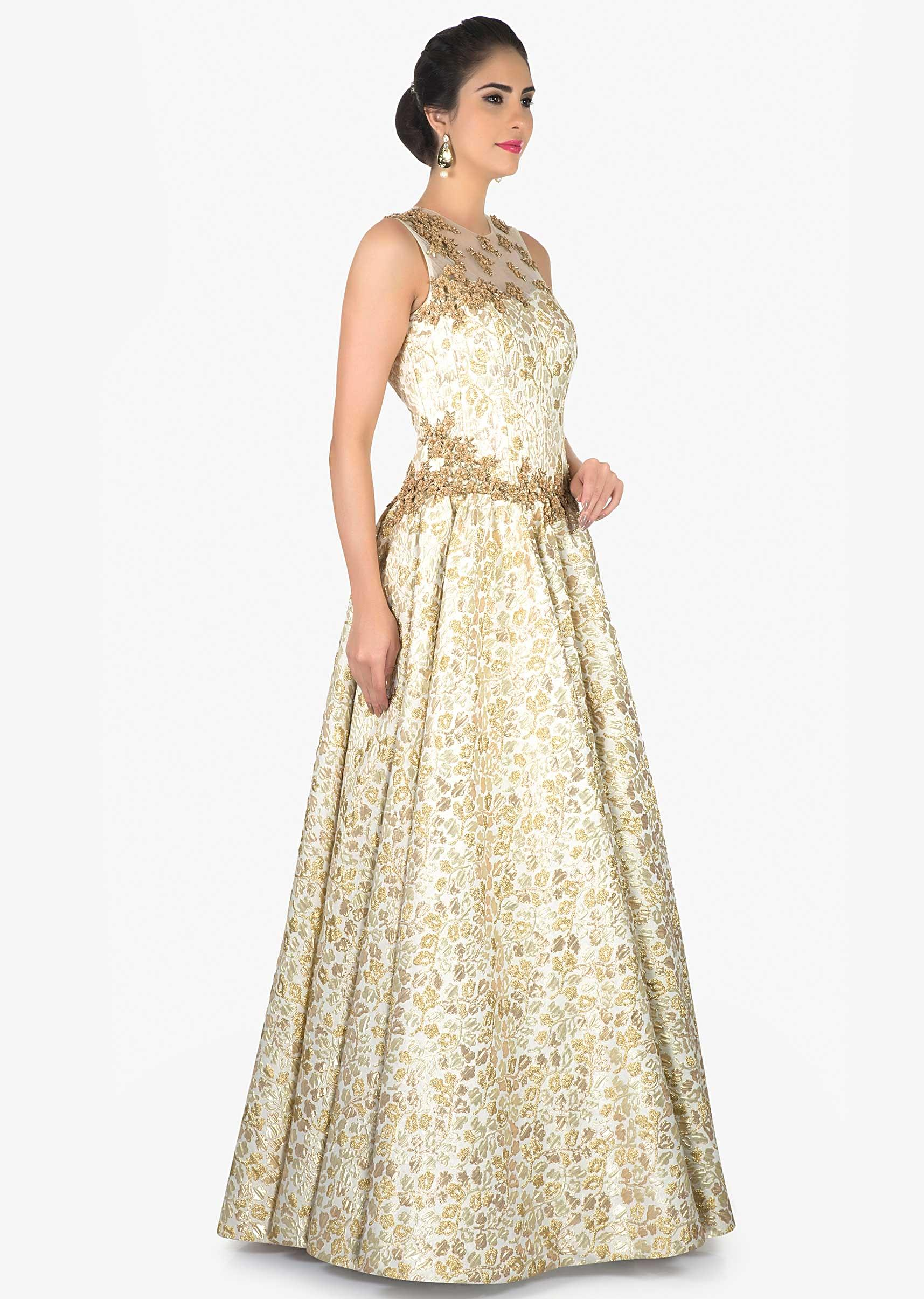 Image result for CREAM BROCADE GOWN