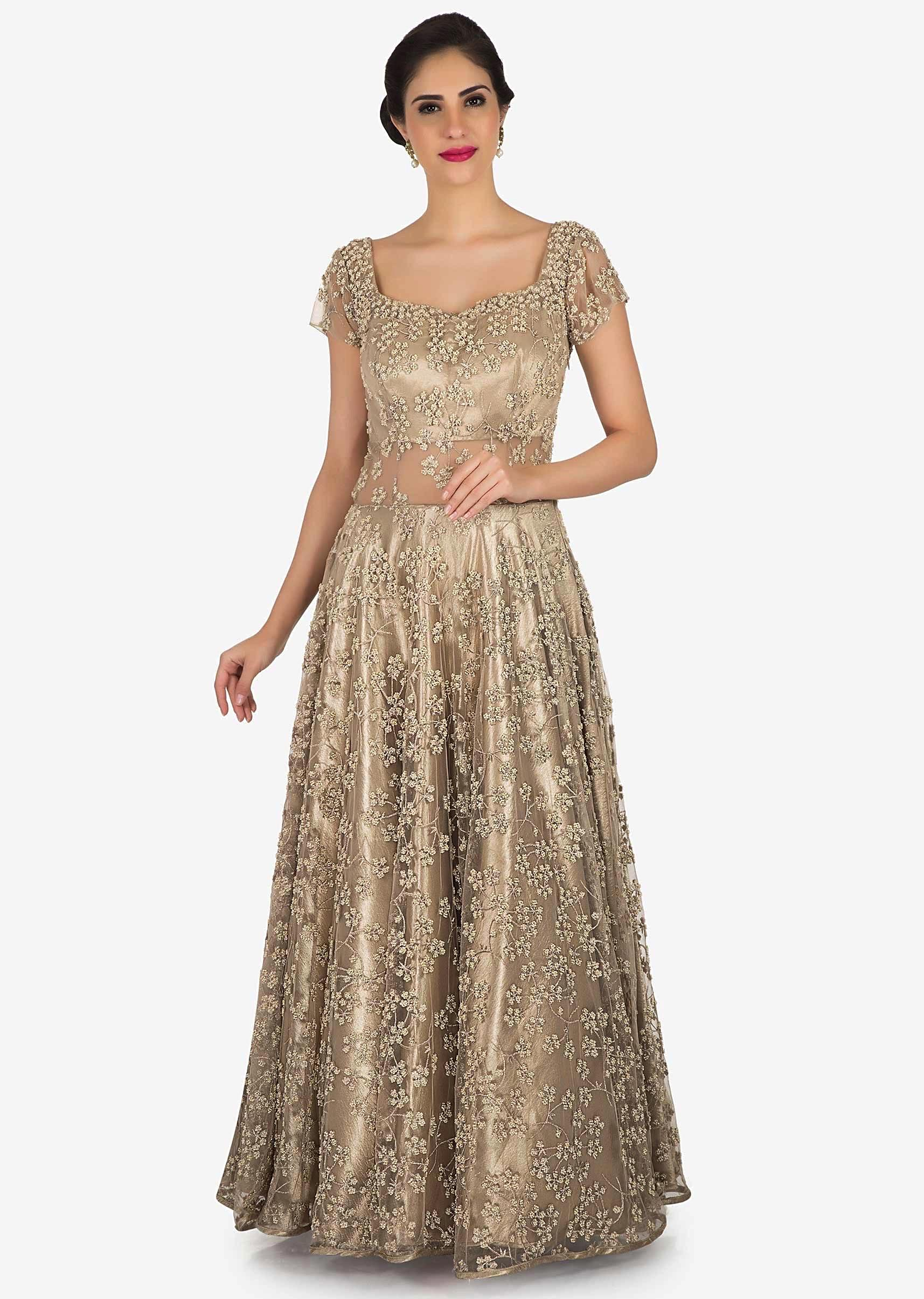 Cream And Gold Net Gown Embellished In Zari And Moti Embroidery Work