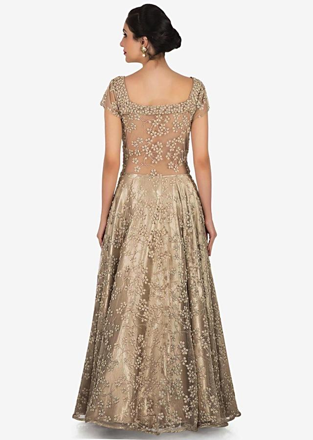 Cream And Gold Gown In Net Embellished In Zari And Moti Embroidery Work Online - Kalki Fashion