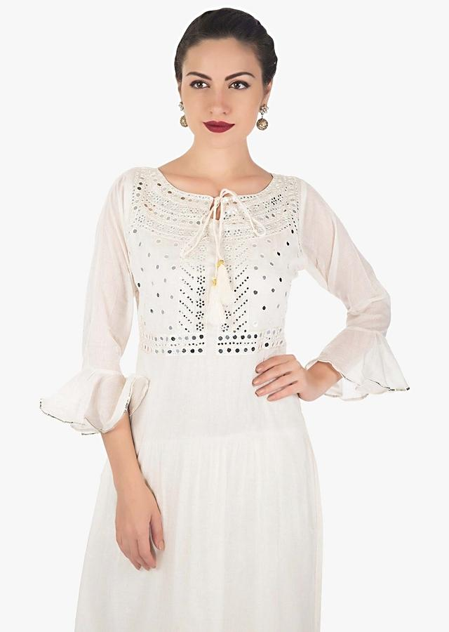 Cream Double Layer Dress Embellished In Mirror And Resham Embroidery Online - Kalki Fashion
