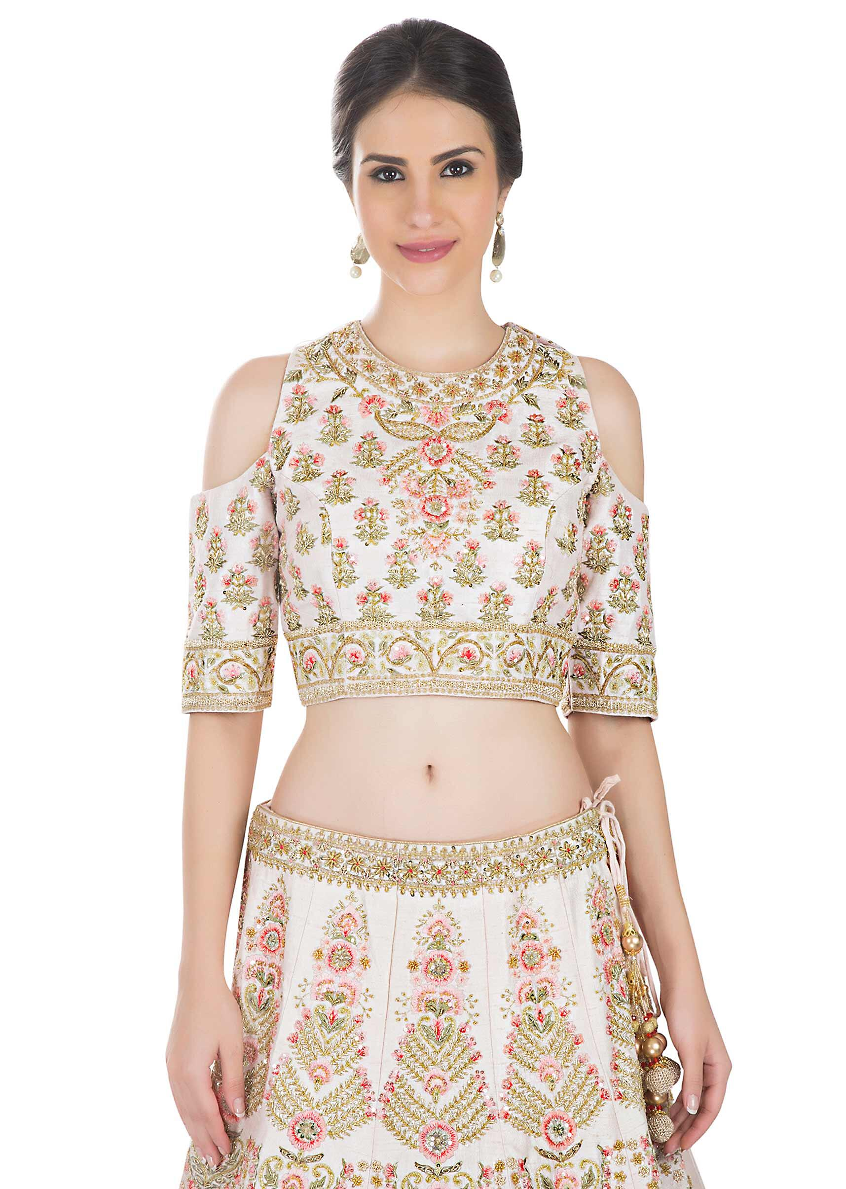 b77cb92978337 Cream pink lehenga with cold shoulder blouse in resham embroidery only on  Kalki