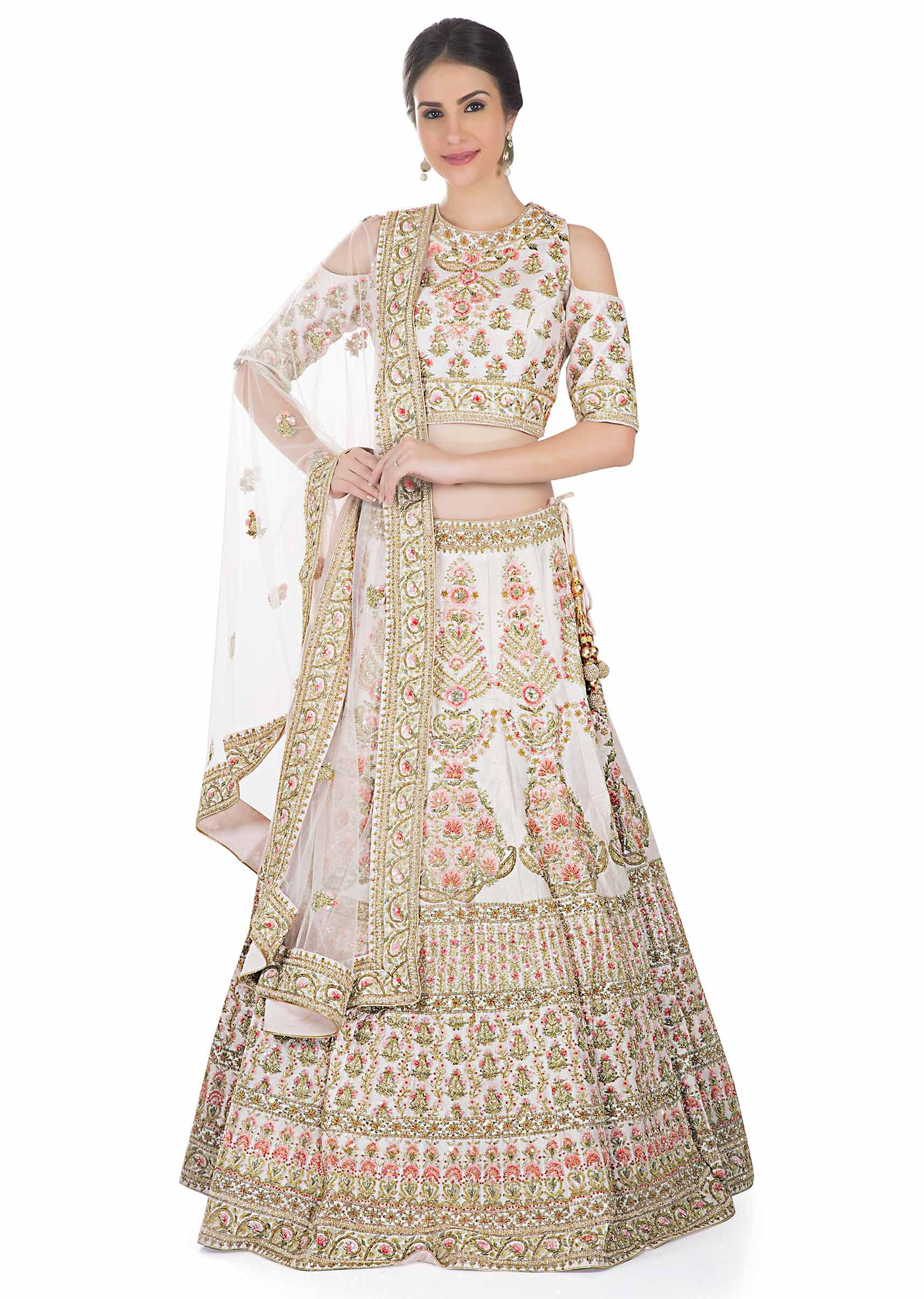 ba314f590ff5c6 Cream pink lehenga with cold shoulder blouse in resham embroidery only on  KalkiMore Detail