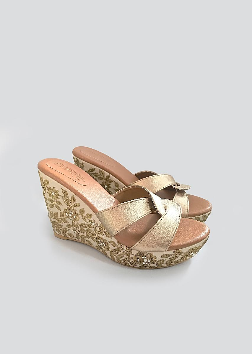 Cream Wedge Heels With Golden Zari And Beads Embroidered Floral Jaal By Sole House