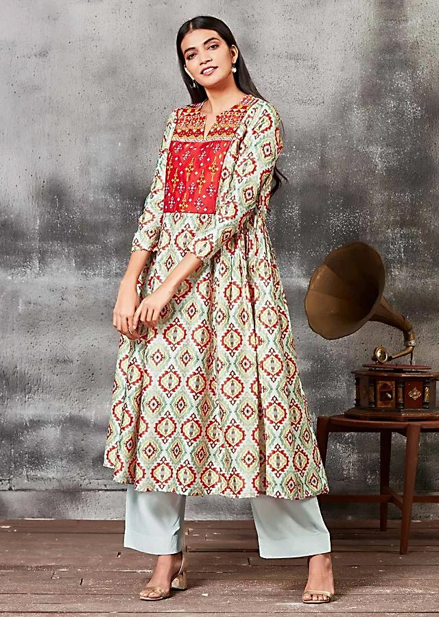 Moss green Anarkali Suit With Ethnic Print And Thread Embroidery Online - Kalki Fashion