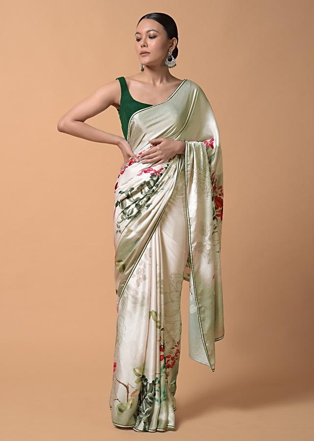 Cream White Shaded Saree In Satin With Colorful Floral Print And Kundan Accents Online - Kalki Fashion