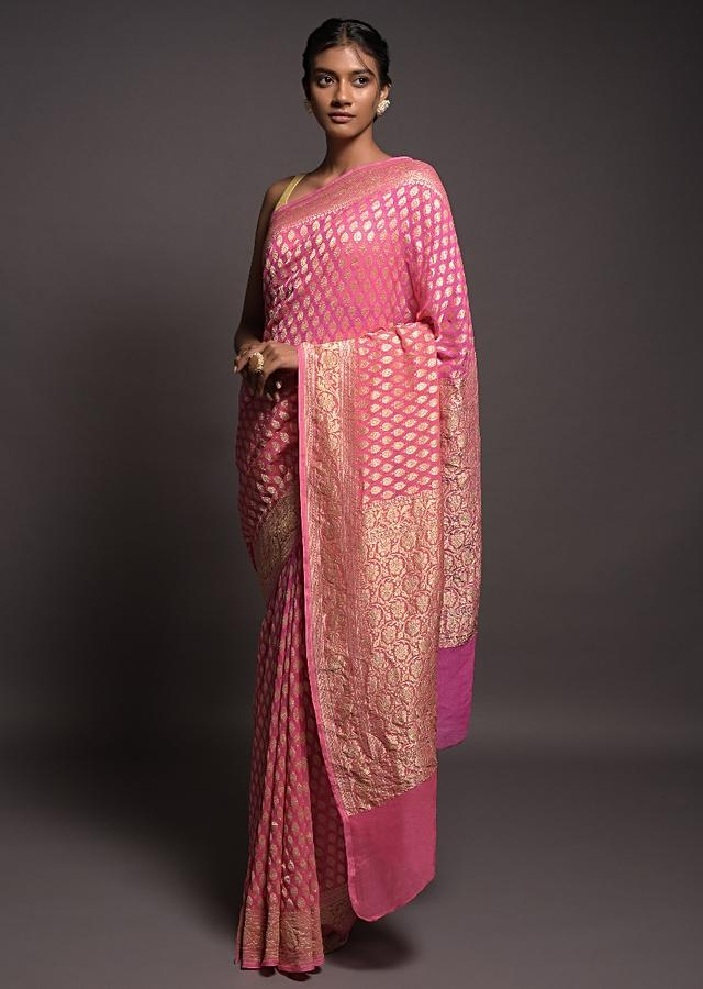 Creamy Pink And Nora Pink Ombre Banarasi Saree In Georgette With Weaved Buttis Online - Kalki Fashion