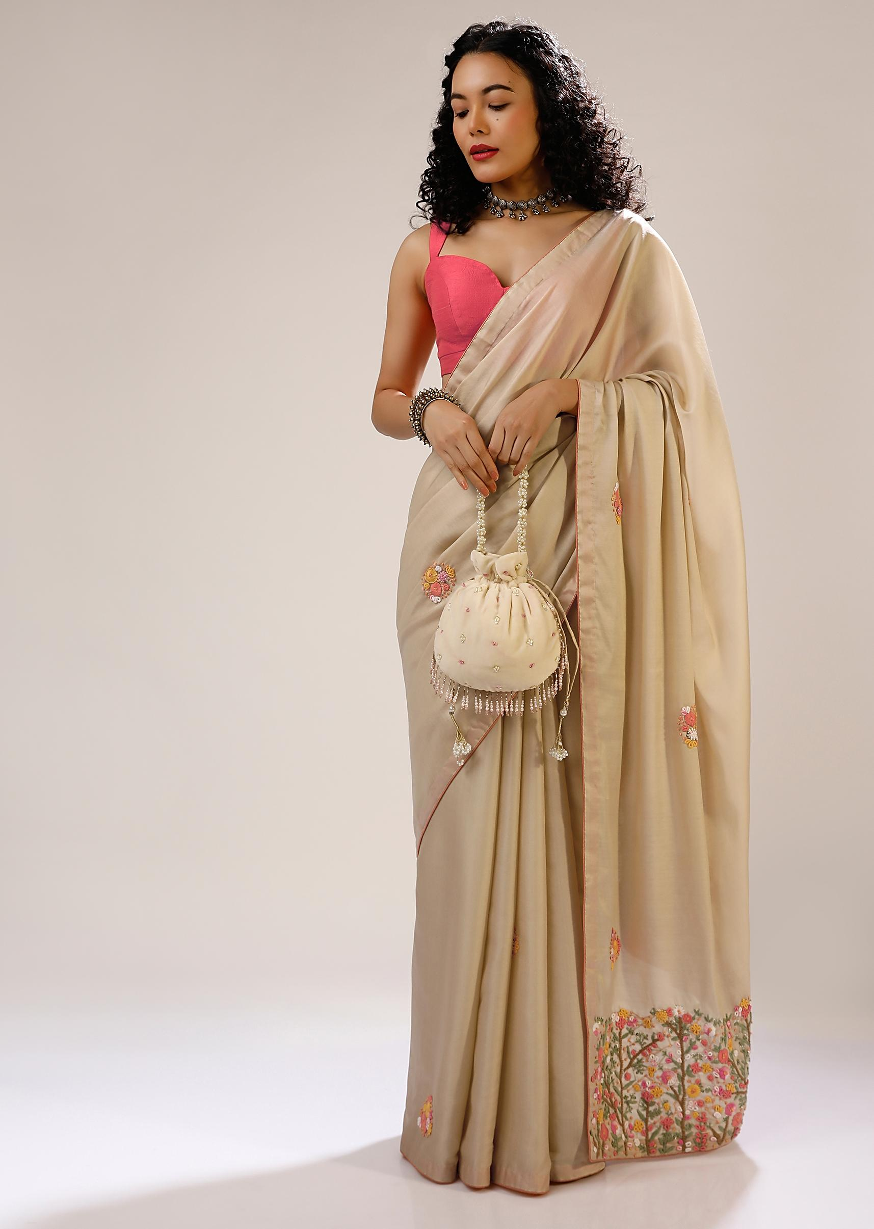 Creme Brulee Saree In Dupion Silk With Multi Colored Bud Embroidered Floral Buttis And Heavy Pallu Design Online - Kalki Fashion