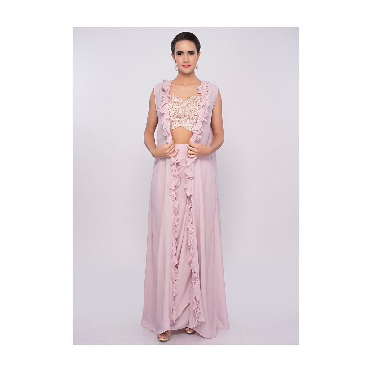 Crepe pink dhoti skirt and crop top with long only on KalkiMore Detail 406d16321
