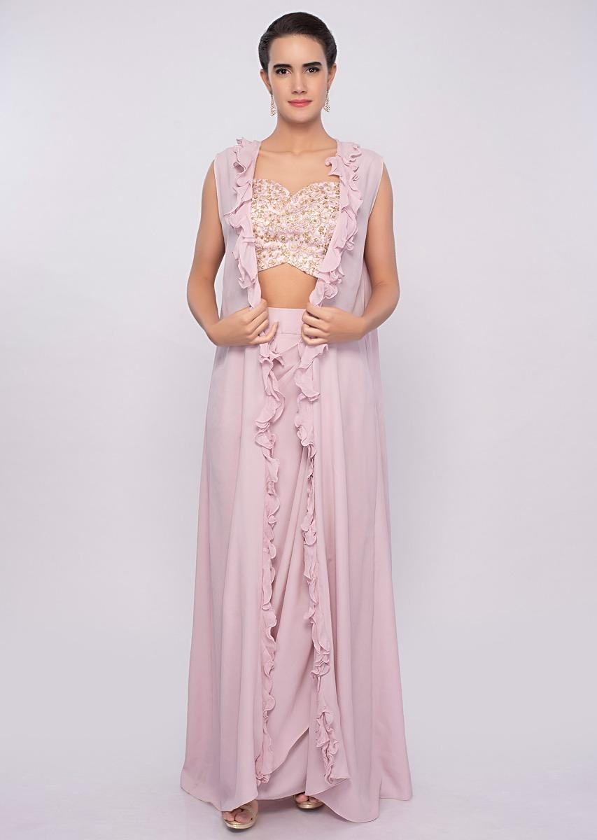 e9bc6219cd Crepe pink dhoti skirt and crop top with long only on Kalki