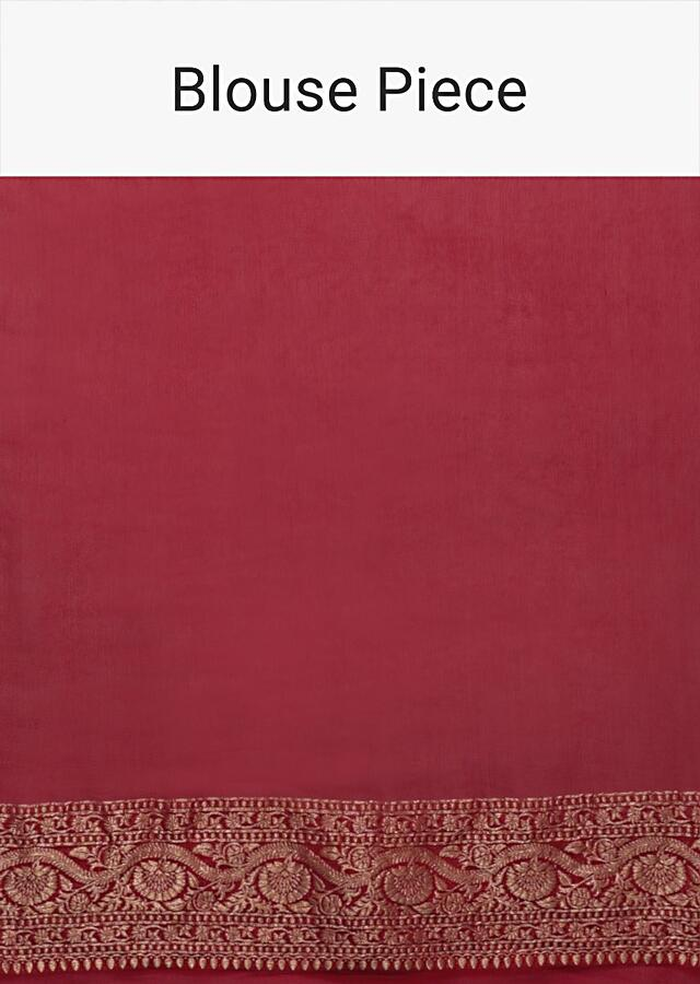 Crimson Red Banarasi Saree In Georgette With Weaved Buttis Online - Kalki Fashion