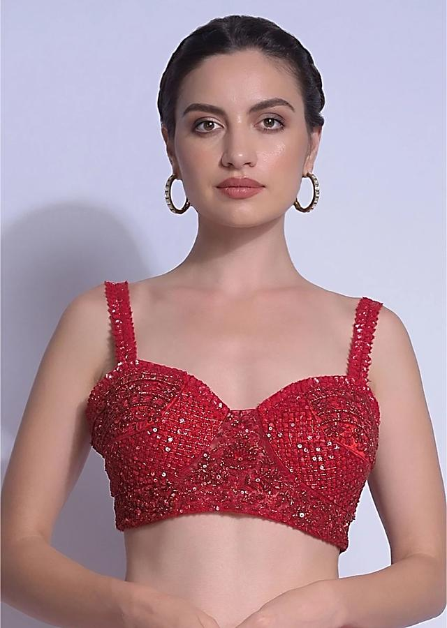 Crimson Red Blouse With Sequins And Cut Dana Work And Sweetheart Neckline Online - Kalki Fashion
