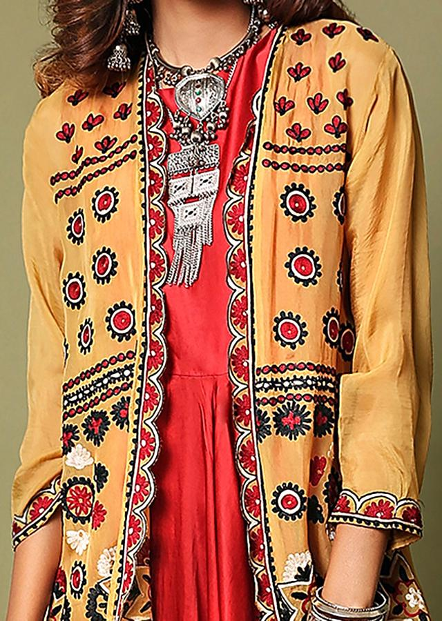 Crimson Red Cowl Jumpsuit Paired With A Contrasting Mustard Jacket Featuring Mandala Aari Embroidery Online - Kalki Fashion