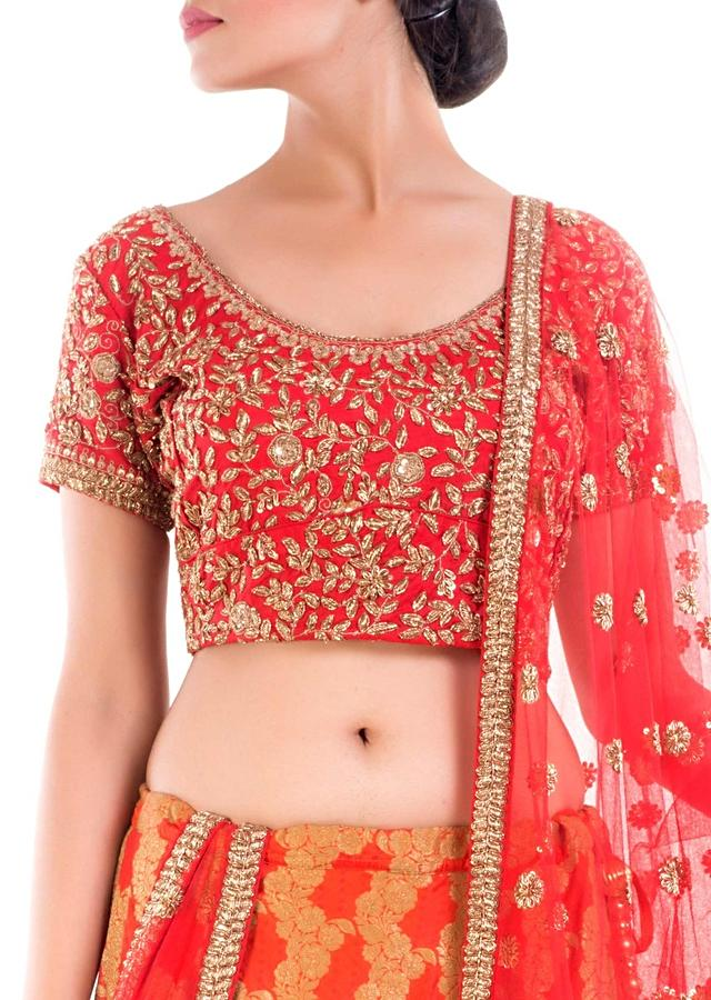 Crimson Red Bridal Lehenga With Gold Embellishment Online - Kalki Fashion