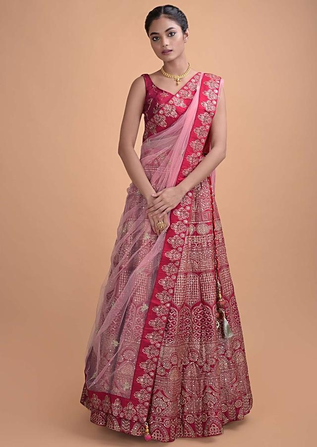 Crimson Red Lehenga In Silk With Foil Print In Heritage Pattern Online - Kalki Fashion