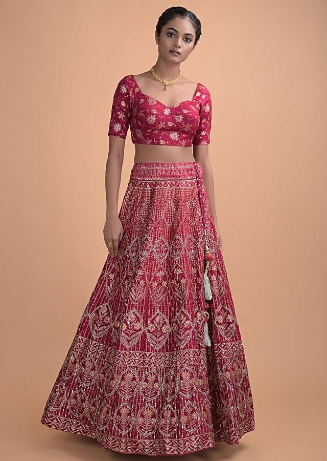 Crimson Red Lehenga In Silk With Foil Print In Ogee And Floral Motifs Online - Kalki Fashion