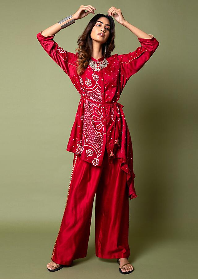Crimson Red Shirt And Palazzo Set With Mandala Bandhani Print And Hand Embroidered Using Antique Sequins And Beads Online - Kalki Fashion