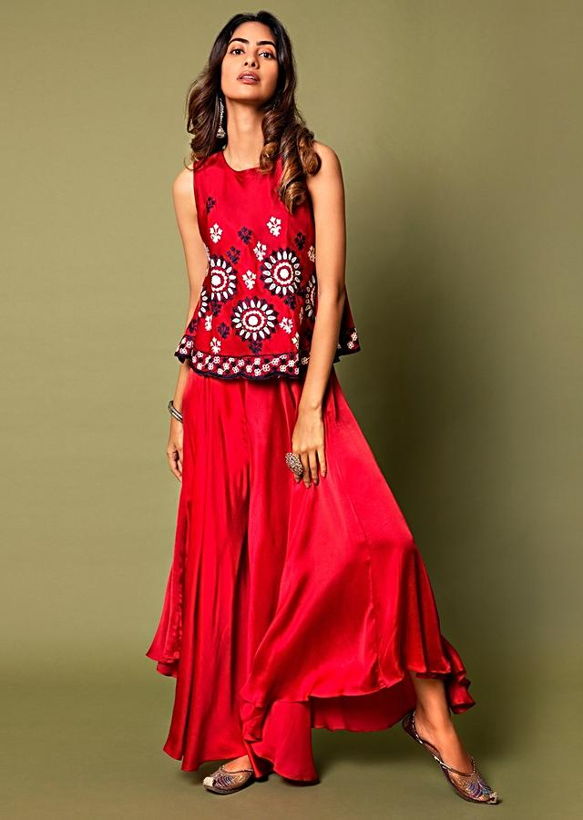 Crimson Red Top And Waterfall Palazzo Pants Set Adorned In Aari Embroidery Online - Kalki Fashion