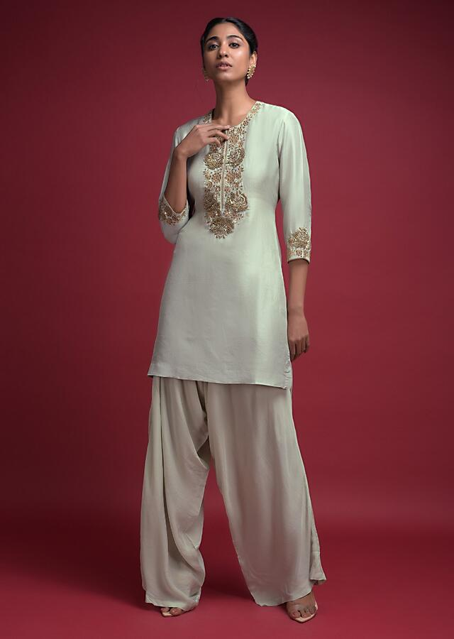 Cucumber Green Dhoti Suit In Cotton Silk With Zardozi Embroidered Floral Pattern Online - Kalki Fashion