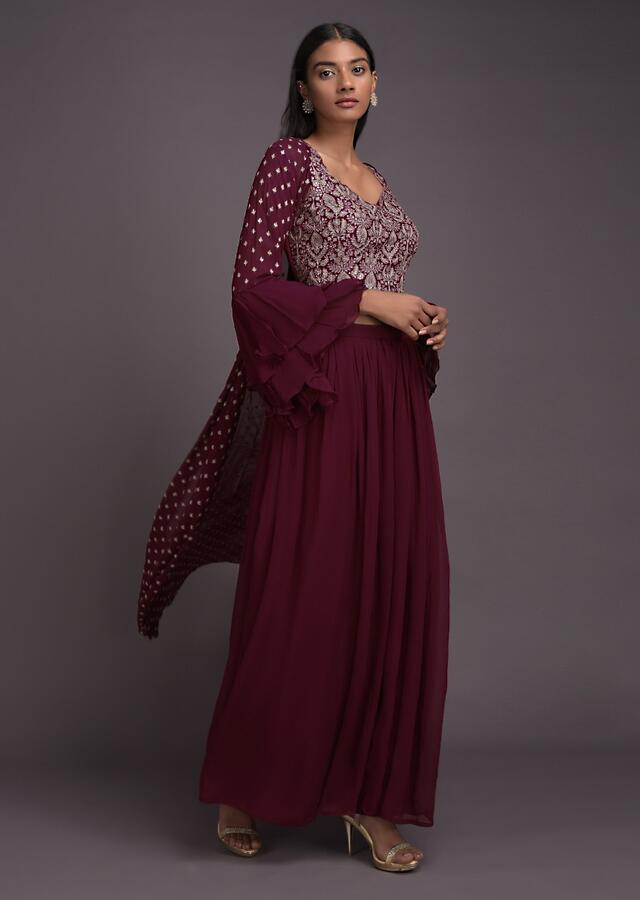 Currant Red Palazzo Suit And Long Jacket With Ruffle Sleeves And Jaal Embroidered Crop Top Online - Kalki Fashion