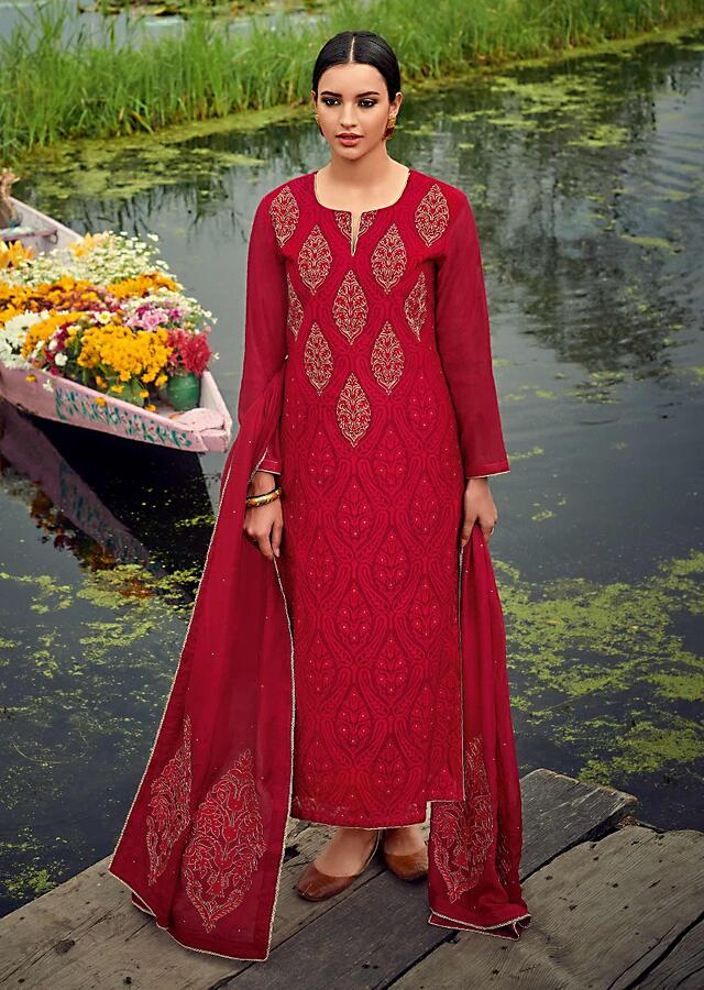 Currant Red Straight Cut Suit In Cotton With Resham And Zari Embroidered Ethnic Motifs Online - Kalki Fashion