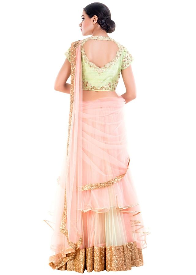 Custard Cream Draped Lehenga Online - Kalki Fashion