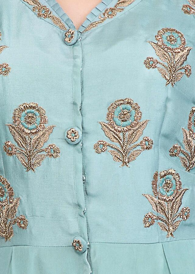Cyan blue jumpsuit with embroidered butti on the bodice only on Kalki