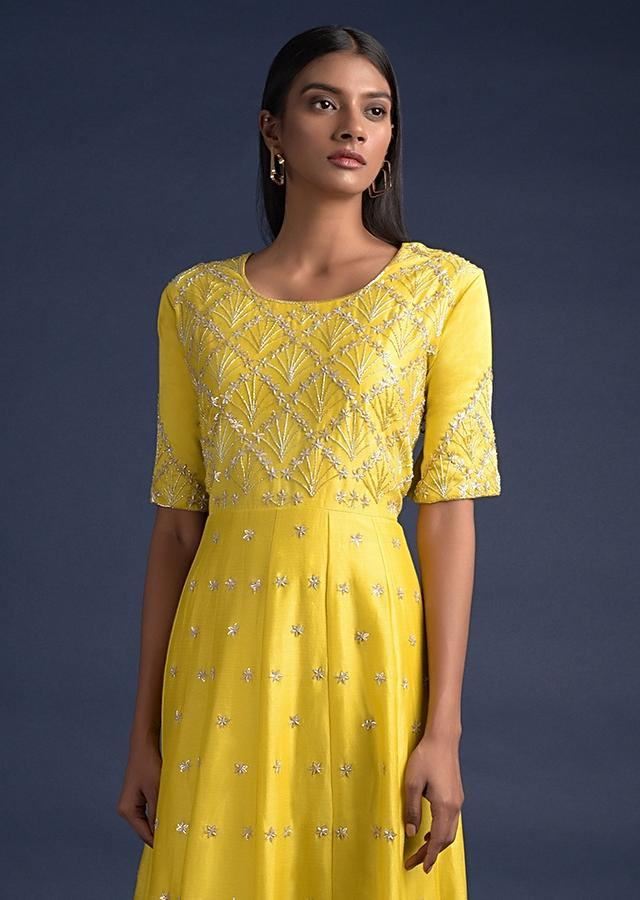 Cyber Yellow Anarkali Suit With Pleated Frill On The Hem And Floral Embroidery Online - Kalki Fashion